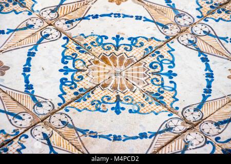 Detail of the painted ceramic floor, Villa Rufolo, Rvavello - Stock Photo