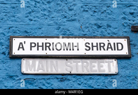 Main Street (A' Phriomh Shraid) sign in Tobermory, Isle of Mull Argyle & Bute, Inner Hebrides, Scotland. - Stock Photo
