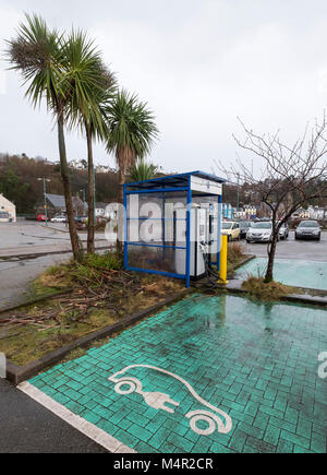 Electric vehicle charging station, Tobermory, Isle of Mull, Argyll and Bute. - Stock Photo