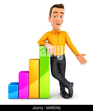3d man leaning against bar chart, illustration with isolated white background - Stock Photo