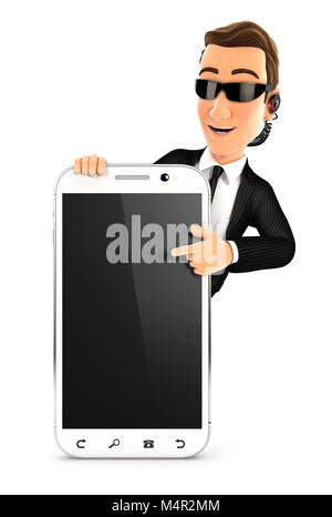 3d security agent pointing to blank smartphone, illustration with isolated white background - Stock Photo