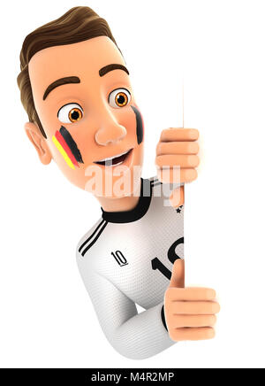 3d german soccer fan peeping over blank wall, illustration with isolated white background - Stock Photo