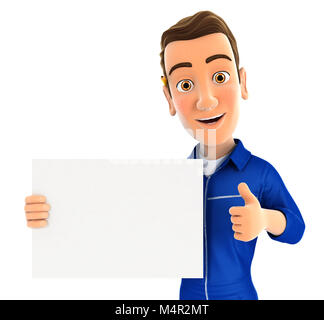 3d mechanic holding placard with thumb up, illustration with isolated white background - Stock Photo
