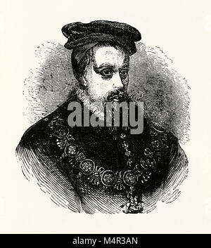 Thomas Stanley, first Earl of Derby (1435–1504) was an English nobleman and politician. He was a landed nobleman - Stock Photo