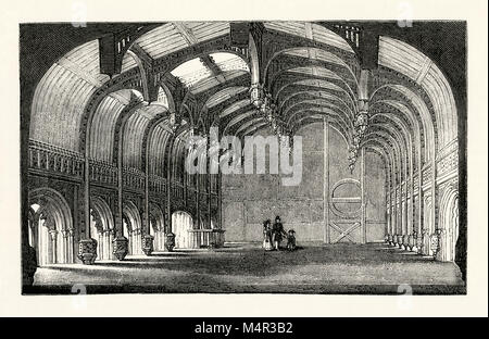 An old engraving showing the impressive timbered interior of The Great Hall of Crosby Hall c. 1750. This historic - Stock Photo