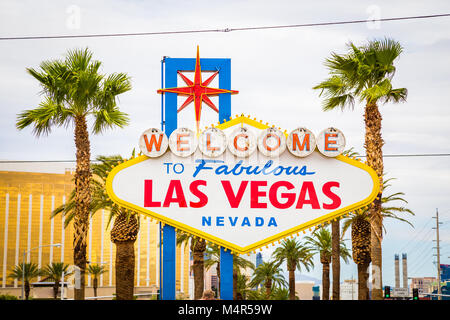 Classic view of Welcome to Fabulous Las Vegas sign at the south end of world famous Las Vegas strip on a beautiful - Stock Photo