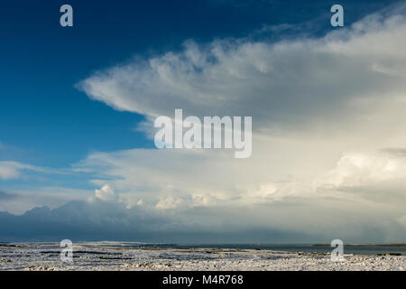 Huge cumulonimbus cloud over the Pentland Firth, from Duncansby Head, Caithness, Scotland, UK.  John o'Groats and - Stock Photo
