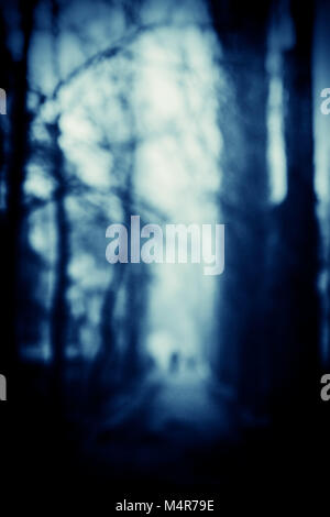 Silhouettes of people walking along the alley in the park. A dark blue blurred background. Element of design. Book - Stock Photo
