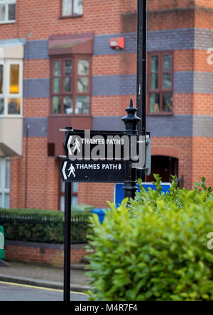 Thames Path signs in Bermondsey, London.  The Thames Path is a national trail encompassing 184 miles of footpath - Stock Photo