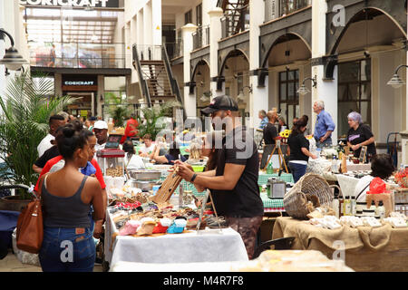 The Saturday morning Palms market, with fresh farm-style food and craft beers, in trendy Woodstock, Cape Town, South - Stock Photo