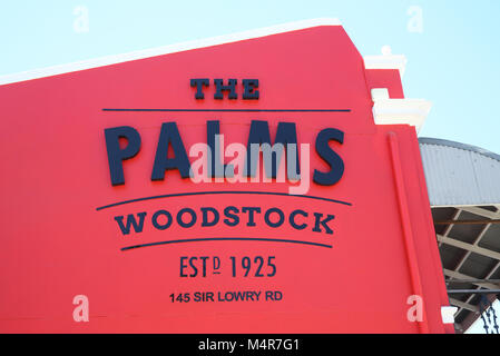Sign for the Saturday morning Palms market, with fresh farm-style food and craft beers, in trendy Woodstock, Cape - Stock Photo