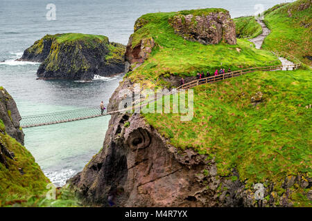 Carrick a rede rope bridge is a famous rope bridge near Ballintoy in County Antrim, Northern Ireland. - Stock Photo