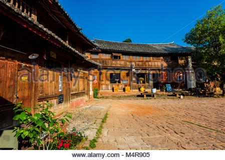 Sideng Square in the market town of Shaxi, on the Tea Horse Caravan Road, which links Southern Yunnan to Tibet and - Stock Photo