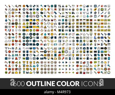 Large icons set, 600 outline color vector pictogram - Stock Photo