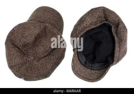 Vintage tweed warm winter cap of my grandmother. Isolated on white studio shot - Stock Photo