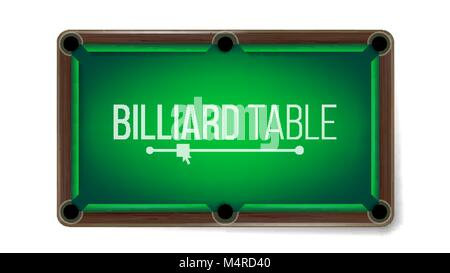 Realistic Billiard Table Vector. American Pool Table. Sport Theme. Top View. Isolated On White Illustration - Stock Photo