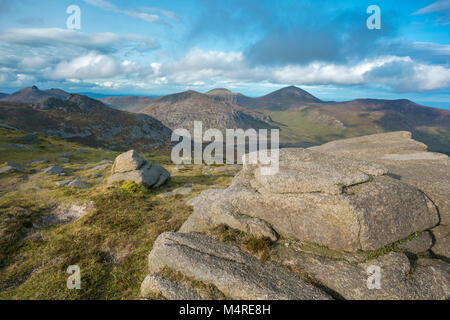 View towards Slieve Donard from Slieve Binnian, Mourne Mountains, County Down, Northern Ireland. - Stock Photo