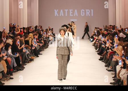 KYIV, UKRAINE - FEBRUARY 7, 2018: Models walk the runway at Katea Gri collection show during Ukrainian Fashion Week - Stock Photo