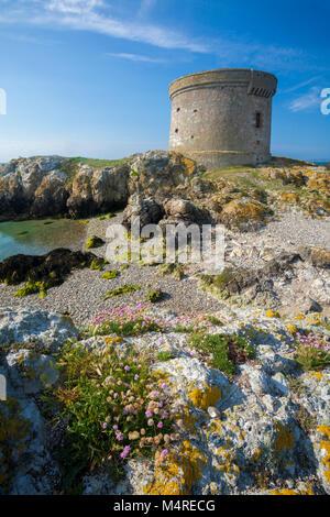 Martello Tower on Ireland's Eye, Howth Head, County Dublin, Ireland. - Stock Photo