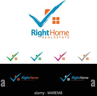 Check home, Real estate vector logo design, simple realty with check line and roof represented strong, right, correct, - Stock Photo
