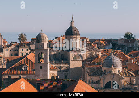 Classic view of the historic town of Dubrovnik, one of the most famous tourist destinations in the Mediterranean - Stock Photo