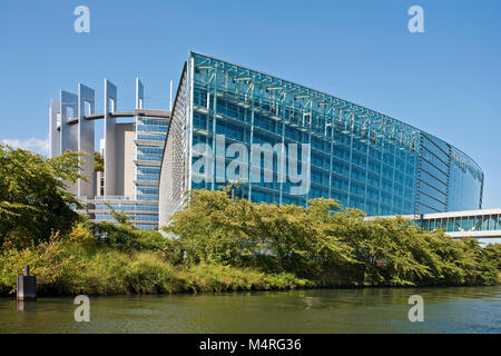European Parliament at Ill river, Strasbourg, Alsace, Bas-Rhin, France, Europe - Stock Photo
