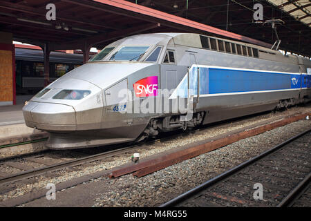 TGV, french high-speed train at train station, Strasbourg, Alsace, Bas-Rhin, France, Europe - Stock Photo