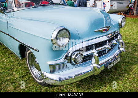 Australia, New South Wales, Central Coast, The Entrance, the elegant front fender of a 1953 Chevrolet Bel Air Sports - Stock Photo