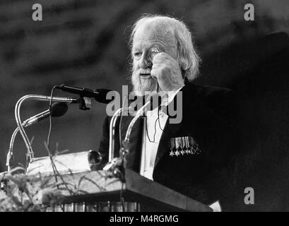 WILLIAM GOLDING British author and Nobel laureate in literature 1983 give her thanks to the Swedish academy at the - Stock Photo
