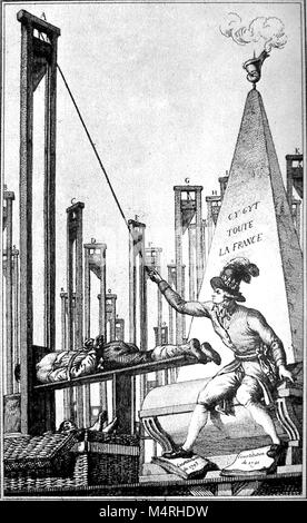Cartoon showing Robespierre guillotining the executioner after having guillotined everyone else in France. Maximilien - Stock Photo