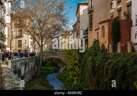 Carrera del Darro is the name given to the entire left bank of the River Darro. It is one of the most scenic walks - Stock Photo