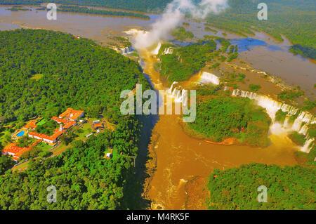 Aerial view of Iguazu falls. Argentina and Brazil. - Stock Photo