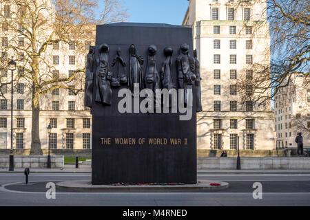 Monument to the Women of World War II, war memorial by John W. Mills, Whitehall, London, UK - Stock Photo