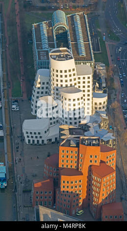 Aerial view, Gehry buildings, Media Harbor, Düsseldorf Harbor, Neuer Zollhof Gehry buildings, Duesseldorf Media - Stock Photo