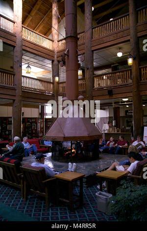 Many Glacier Hotel interior lobby..Many Glacier Hotel Fireplace.