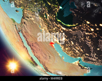 Kuwait during sunset highlighted in red on planet Earth with clouds. 3D illustration. Elements of this image furnished - Stock Photo
