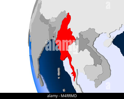 Myanmar in red on political globe with transparent oceans. 3D illustration. - Stock Photo