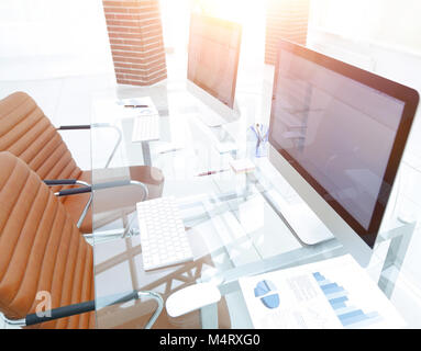 stylish workplace with computer in modern office - Stock Photo