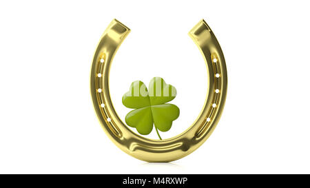 St Patrick's concept. Four leaf clover and golden horse shoe isolated on white background. 3d illustration - Stock Photo