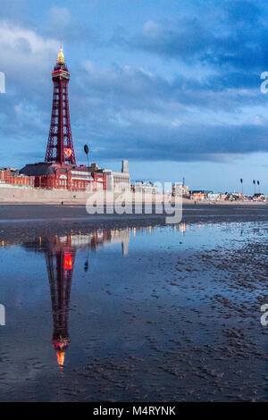 Sunset over Blackpool Pier.  17th Feb 2018. UK Weather.  After a sunny and mild day over the north west coastline - Stock Photo