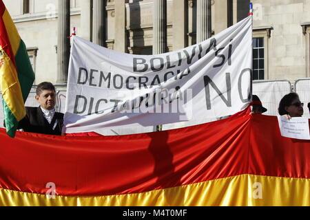 London, UK. 17th Feb, 2018. Bolivia Protest in Trafalgar Square 17-02-18 Credit: Alex Cavendish/Alamy Live News - Stock Photo