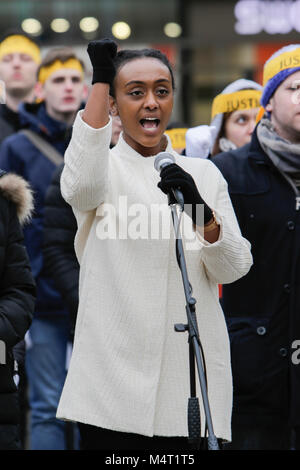 Frankfurt, Germany. 17th February 2018. Sympathisers of the Human Rights Association for Forced Conversion sing - Stock Photo