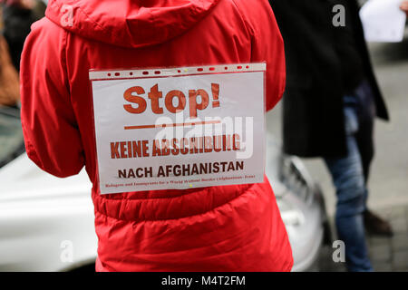 Frankfurt, Germany. 17th February 2018. A protester has a sign on his jacket that reads 'Stop - No deportation to - Stock Photo