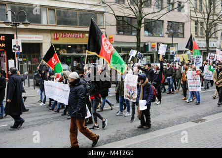 Frankfurt, Germany. 17th February 2018. Protesters march through Frankfurt. Afghans and German supporters marched - Stock Photo
