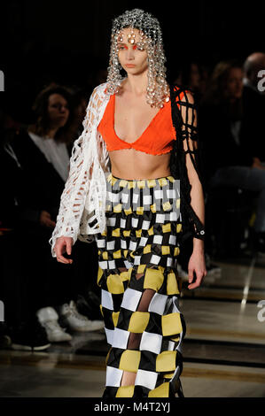 Model on the catwalk at the Susan Fang fashion show at Fashion Scout AW18 at Freemasons Hall, Covent Garden, London, - Stock Photo