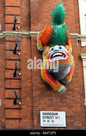 London - 16 February 2018: London's Chinatown gets ready to celebrate Chinese New Year, the start of the Year of - Stock Photo