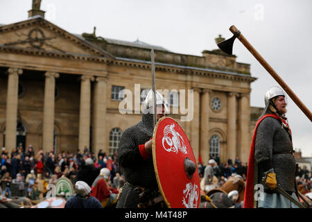 York, UK.  17 February 2018.  York Jorvik Viking Festival, York, North Yorkshire, UK. Skirmish between Vikings and - Stock Photo