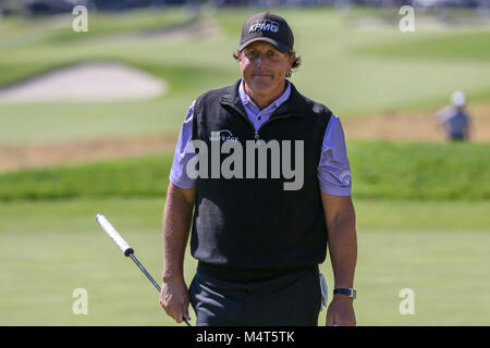 Los Angeles, CA, USA. 17th Feb, 2018. Phil Mickelson during day 3 of the Genesis Open at the Riviera Country Club - Stock Photo
