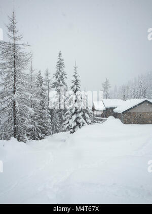 02/17/2018 Snow event. Snow storm. Heavy snowfall and snow accumulation. A snow covered road has all but dispeared - Stock Photo