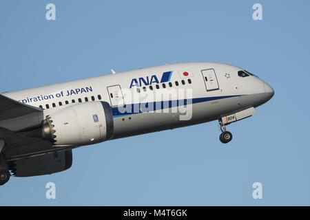 Richmond, British Columbia, Canada. 10th Feb, 2018. An ANA All Nippon Airways Boeing 787-8 Dreamliner (JA804A) wide - Stock Photo